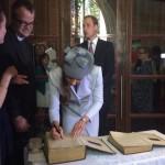 Kate signing first fleet bible