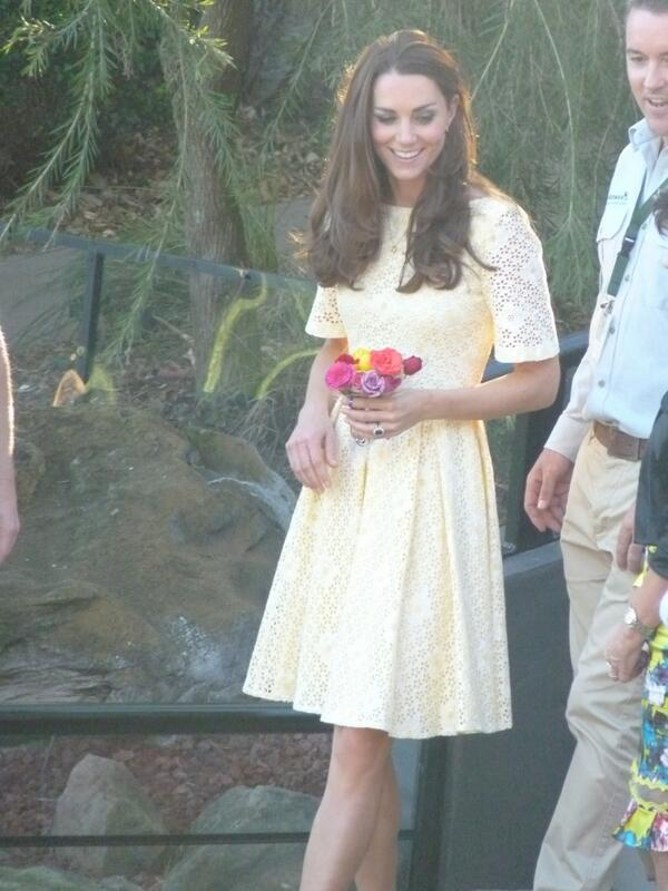 For the zoo appearance, Kate changed into a yellow, broderie anglaise dress  that she previously wore in SE Asia. There is no Id on the dress.