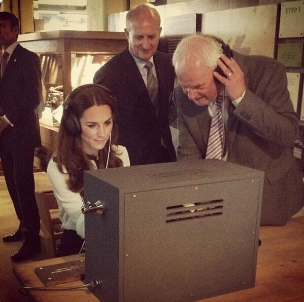 Kate plays pretend with Morse Code machine