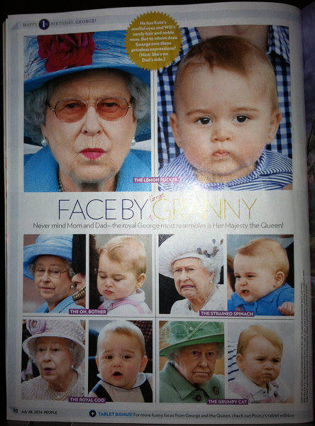 George's grumpy face came from Queen Elizabeth