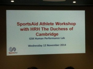 Athlete workshop sign for Kate Middleton