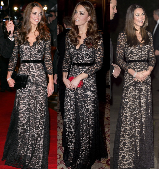 Kate Middleton Temperley black lace gown