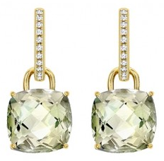 Kiki McDonough Green Amethyst Cushion Cut drops