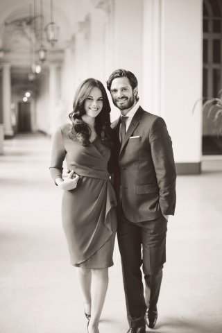 Prince Carl Philip and Sofia Hellqvist black and white.