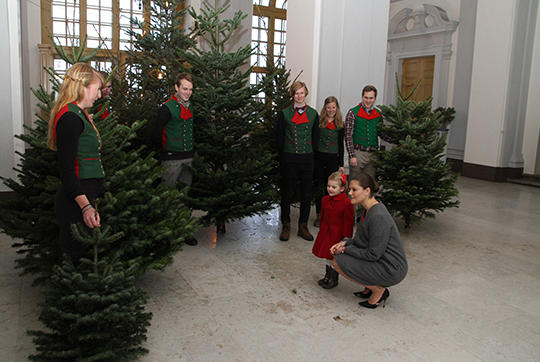 Crown Princess Victoria and Princess Estelle receive Christmas trees at Royal Palace