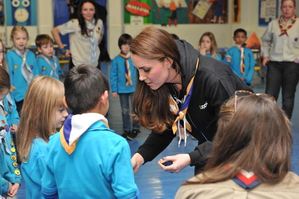 Kate handing out Scouts badges