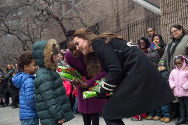 Kate meeting kids at Northside Center