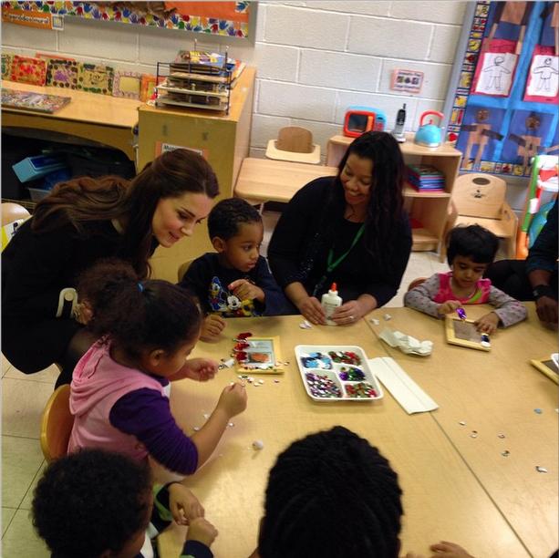Kate talking to kids at Northside Center