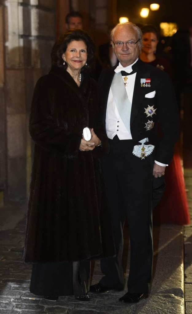 King Carl XVI Gustaf and Queen Silvia at Swedish Academy formal gathering