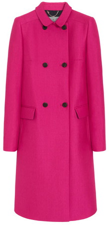 Mulberry Cerise Wool Silk Double Breasted Coat