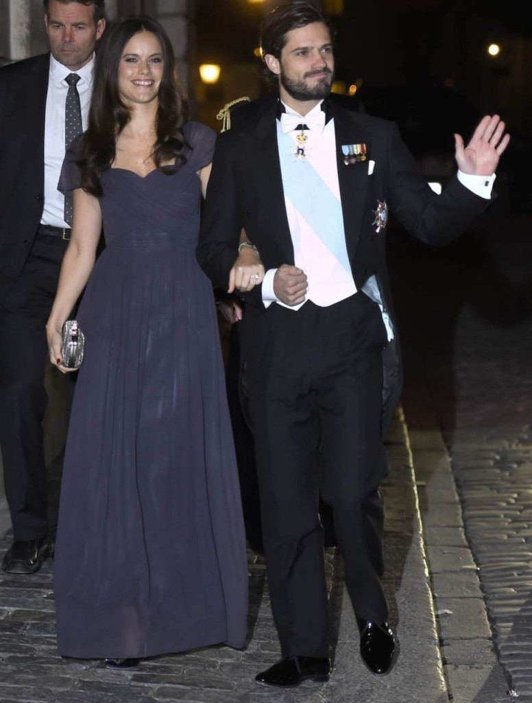 Prince Carl Philip and Sofia Hellqvist at Swedish Academy formal gathering