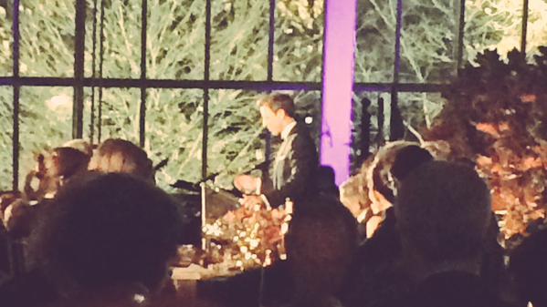 Seth Meyers makes toast at St. Andrews Gala