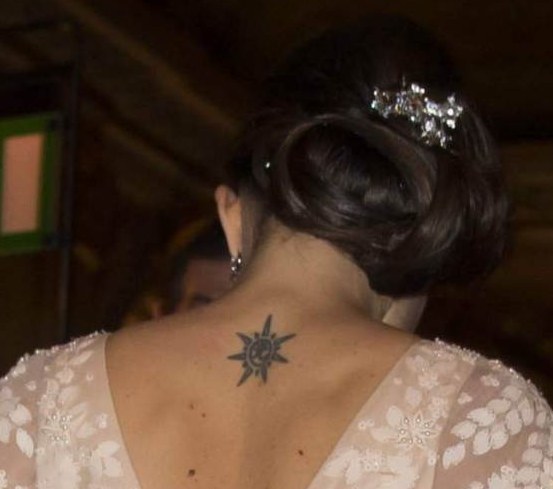 Sofia Hellqvist diamond hair brooch and tattoo