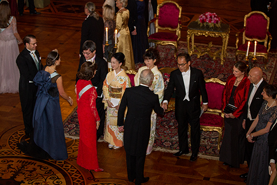 Swedish Royal welcome guests at Nobel Laureates Dinner