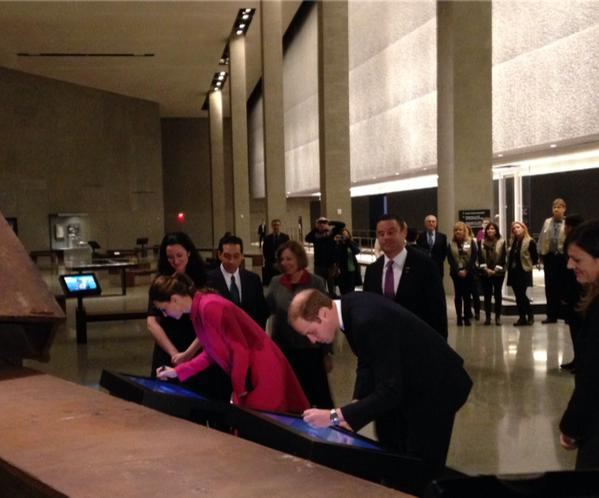 Will and Kate sign their names at September 11 Memorial