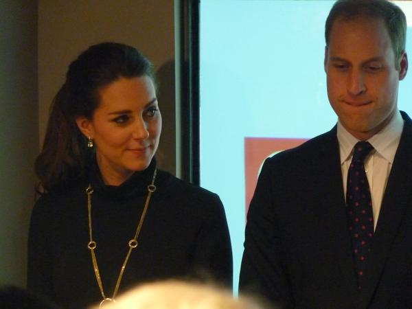 William and Kate listening to speech at GREAT reception