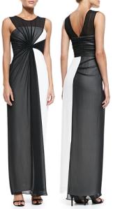 BCBGMAXAZRIA Ninah Asymmetric Colorblocked Gown