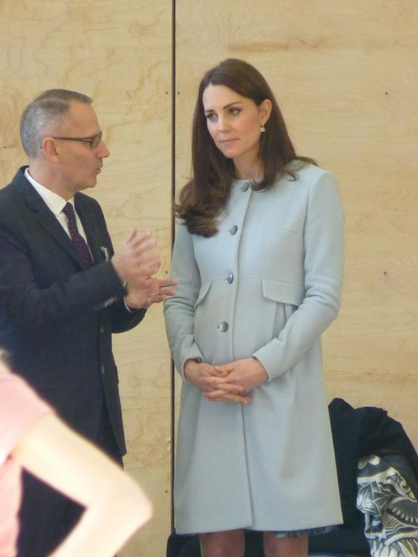 Kate in coat at Kensington Leisure Centre