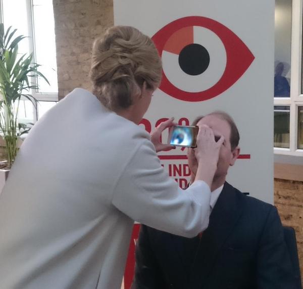 Sophie checks Edward's eye for Jubilee Trust