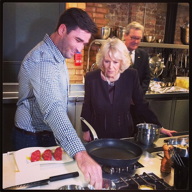 Camilla at cooking demonstration by Lynton Tapp