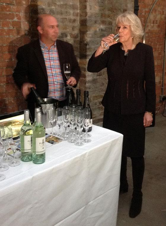 Camilla samples wine for Australia Day