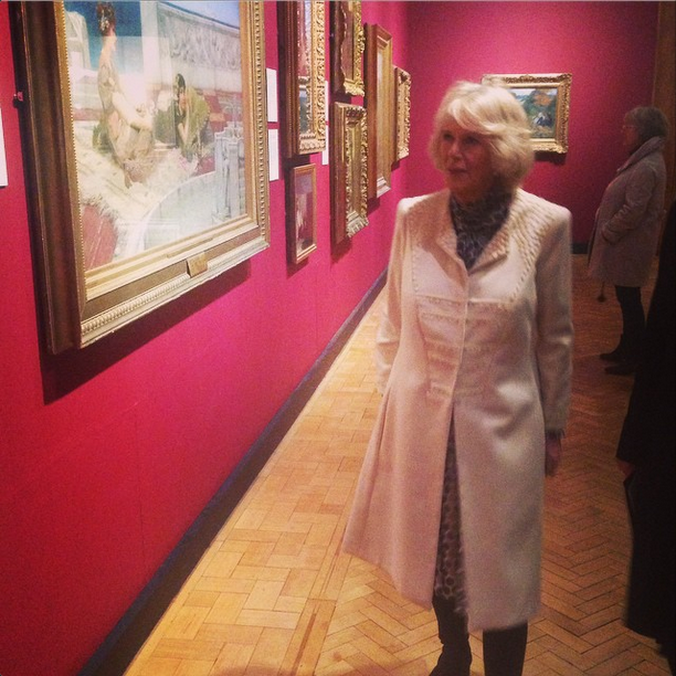 Camilla views paintings at Laing Art Gallery