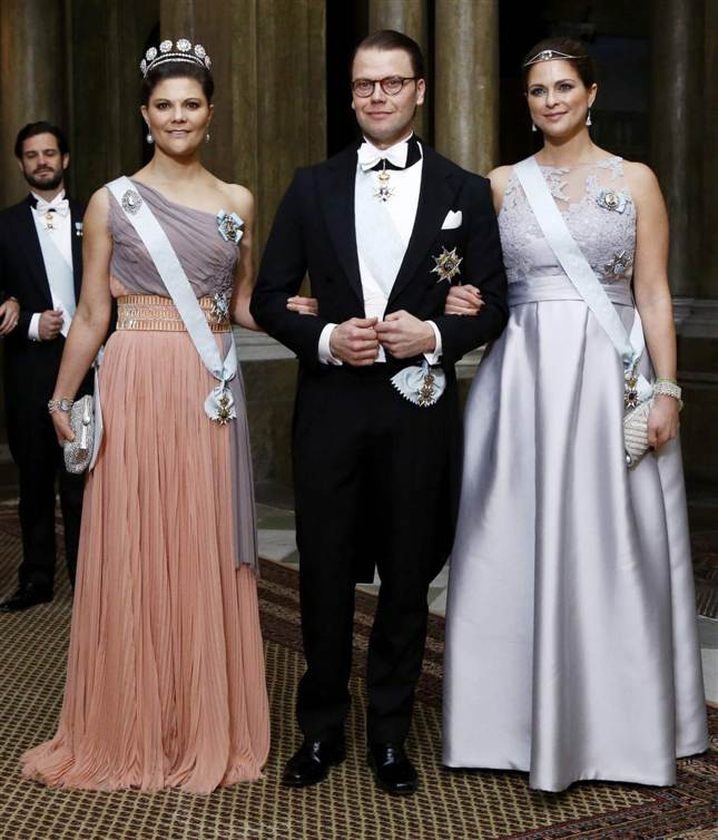 Crown Princess Victoria, Prince Daniel, and Princess Madeleine at official dinner