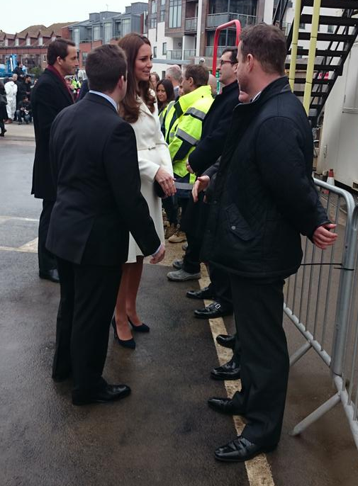 Kate meets construction crew of new Ben Ainslie Racing HQ