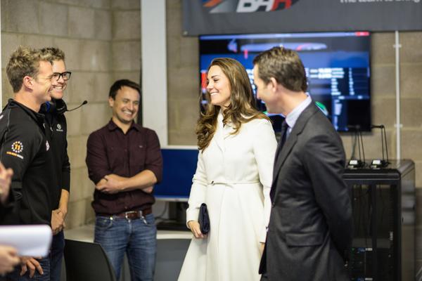 Kate meets crew members