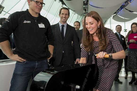 Kate tries the 'power grinder' at Spinnaker Tower