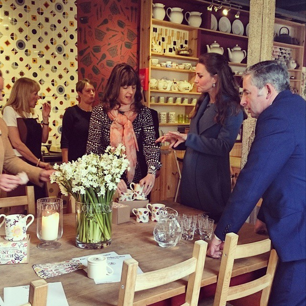 Kate viewing Emma Bridgewater charity mugs