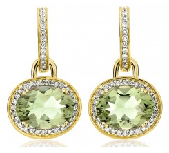 Kiki McDonough Green Amethyst Oval Drop Earrings