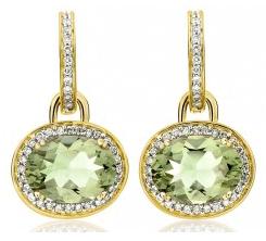 Kiki McDonough Green Amethyst Oval Drop Earrings