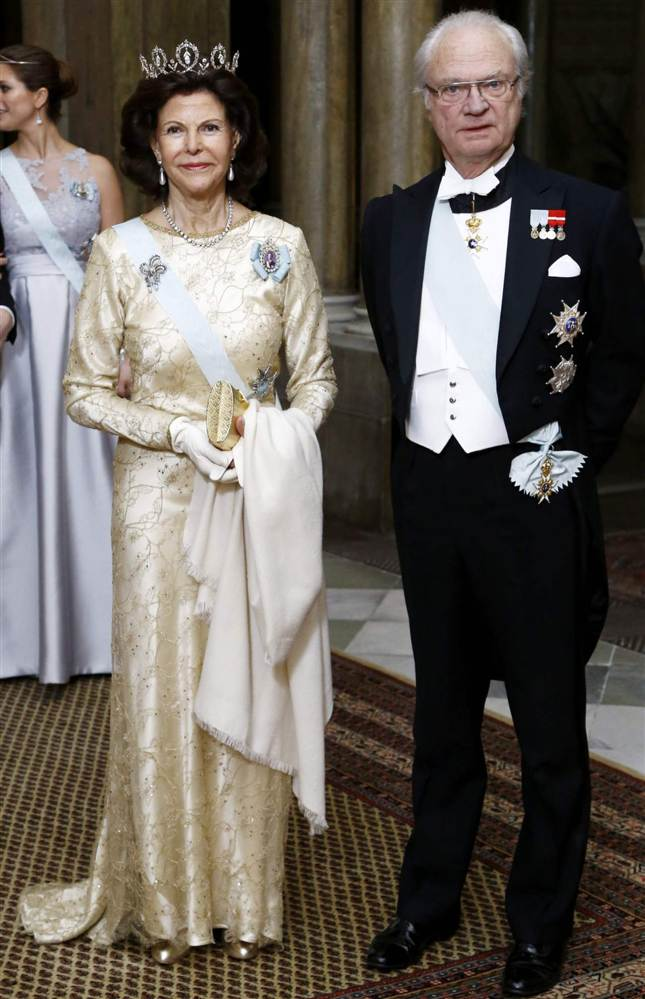 King Carl XVI Gustaf and Queen Silvia at official dinner