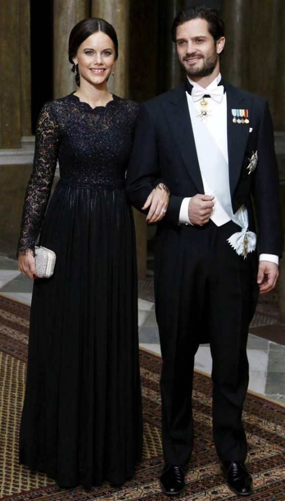 Prince Carl Philip and Sofia Hellqvist at official dinner