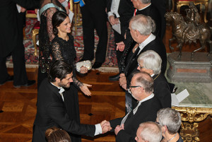Prince Carl Philip and Sofia Hellqvist welcome guests at official dinner