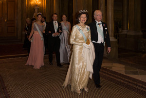 Swedish royals arrive for official dinner at Royal Palace