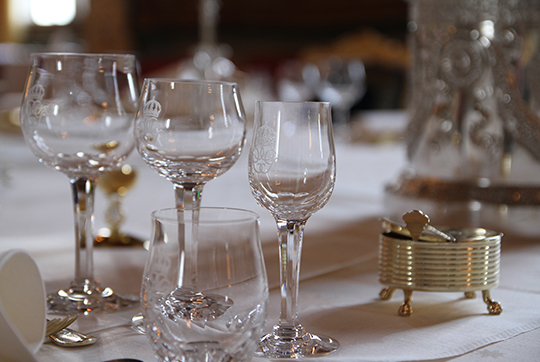glassware at official dinner