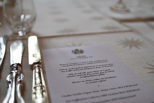 menu at official dinner