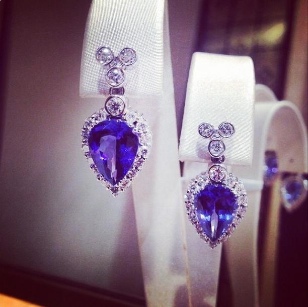 G.Collins & Sons Tanzanite & Diamond Drop Earrings