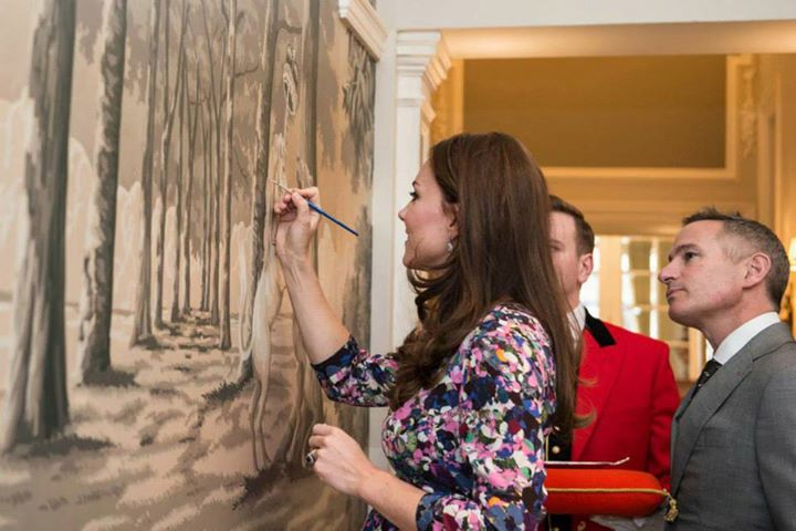 Kate Middleton Goring Hotel 105th birthday painting
