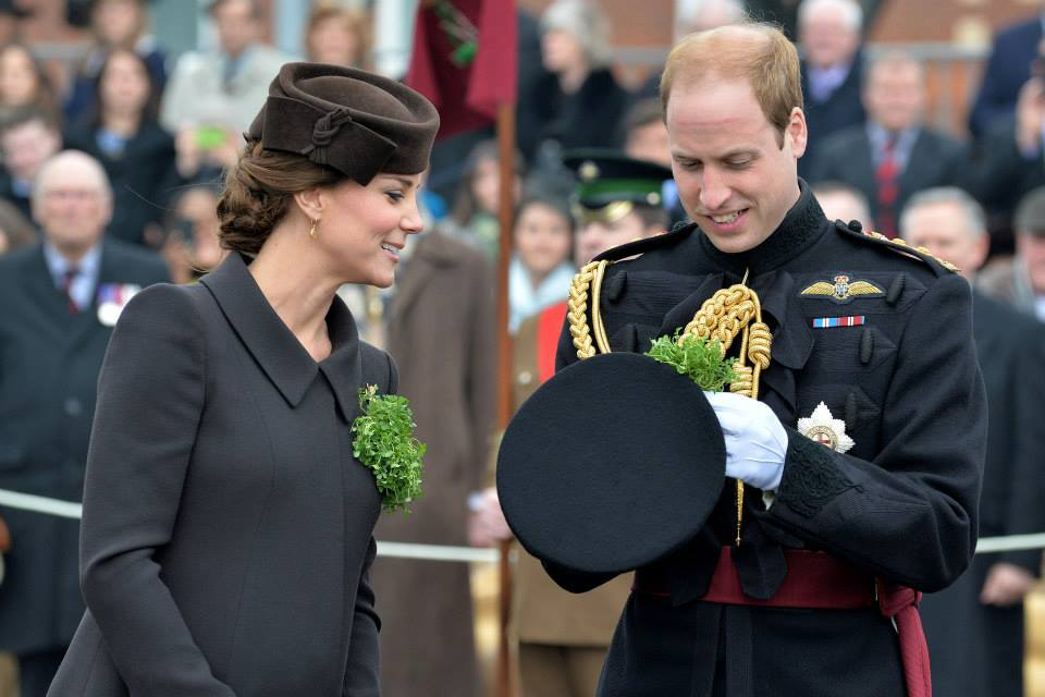Kate and William attach shamrock to hat