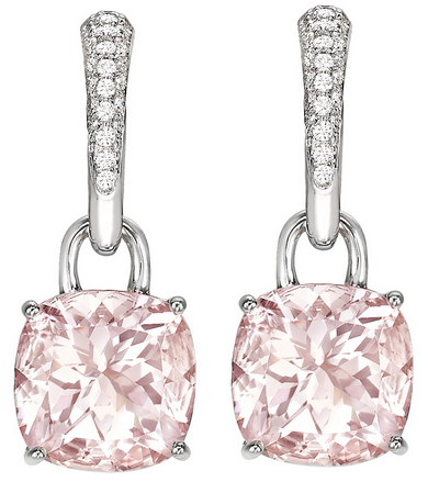 Kiki McDonough Kiki Classic Morganite and Diamond Cushion Drop Earrings