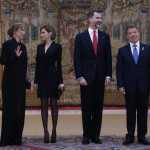 Letizia and Felipe with President of Colombia and wife before El Pardo reception