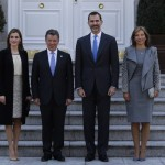 Letizia and Felipe with President of Colombia and wife to start visit