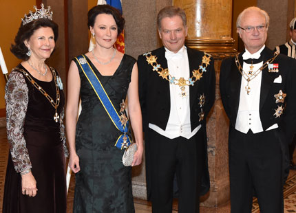 Queen Silvia and King Carl XVI Gustaf at Reply Dinner in Finland