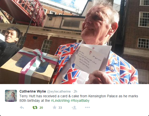 Terry Hutt received card and cake from KP 1