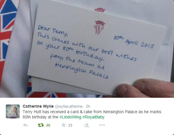 Terry Hutt received card and cake from KP 2