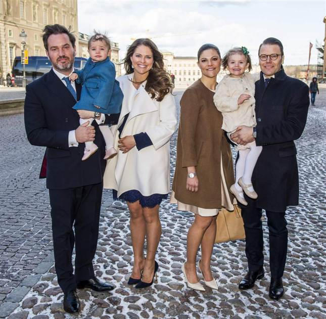 Victoria, Daniel, Estelle, Madeleine, Chris, Leonore at christening
