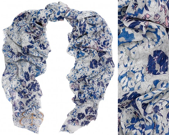 Beulah London Brisa Blue Lip Print Scarf